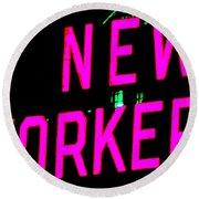 Neon New Yorker Round Beach Towel