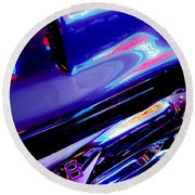 Neon Reflections - Ford V8 Pickup Truck -1044c Round Beach Towel