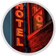 Neon Sign For Hotel In Texas Round Beach Towel