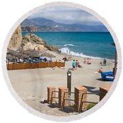 Nerja Beach In Spain Round Beach Towel