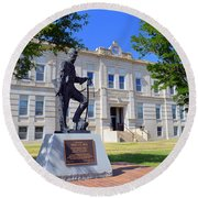 Ness County Courthouse In Kansas Round Beach Towel