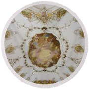 Nesselwang Church Ceiling And Organ Round Beach Towel
