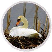 Nesting Swan Round Beach Towel