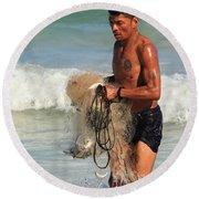 Net Fisherman In Tulum Round Beach Towel