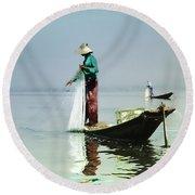 Net Fishing On Inle Lake Round Beach Towel