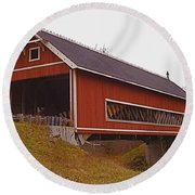Netcher Road Covered Bridge Round Beach Towel