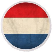 Netherlands Flag Vintage Distressed Finish Round Beach Towel by Design Turnpike