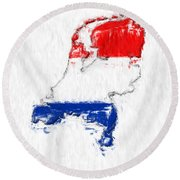 Netherlands Painted Flag Map Round Beach Towel