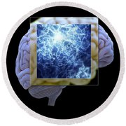 Neuron And Brain Round Beach Towel