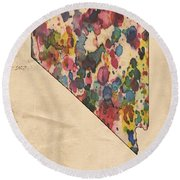 Nevada Map Vintage Watercolor Round Beach Towel