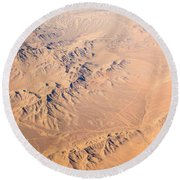 Nevada Mountains Aerial View Round Beach Towel