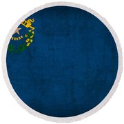Nevada State Flag Art On Worn Canvas Round Beach Towel