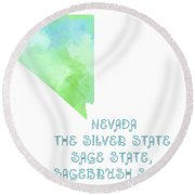 Nevada - The Silver State - Sage State - Sagebrush State - Map - State Phrase - Geology Round Beach Towel