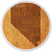 Nevada Word Art State Map On Canvas Round Beach Towel