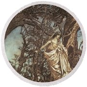 Never So Weary Never So Woeful Illustration To A Midsummer Night S Dream Round Beach Towel