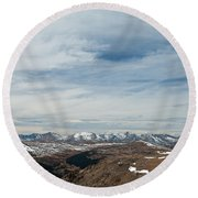 Never Summer Mountains From Rock Cut In Moraine Park Rocky Mountain National Park Round Beach Towel