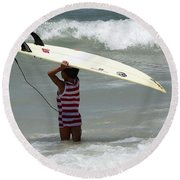 Never Too Little Never Too Big To Surf Round Beach Towel