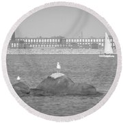 New Bedford Massachusetts Black White Round Beach Towel