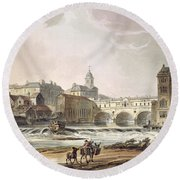 New Bridge, From Bath Illustrated Round Beach Towel