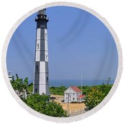 New Cape Henry Lighthouse Vertical Round Beach Towel