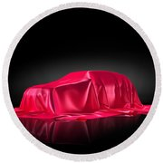 New Car Model Under Red Covering Round Beach Towel