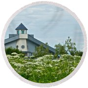 New Church In Ninilchik-ak  Round Beach Towel