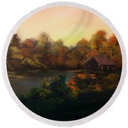 New Day In Autumn Sold Round Beach Towel by Cynthia Adams