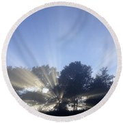 New Day Round Beach Towel by Les Cunliffe