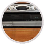 New Dvr With Old Vcr Round Beach Towel