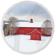 New England Barns Square Round Beach Towel