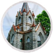 New England Cemetery Mausoleum Round Beach Towel