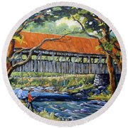 New England Covered Bridge By Prankearts Round Beach Towel by Richard T Pranke