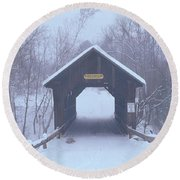 New England Covered Bridge In Winter Round Beach Towel