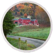 New England Farm Square Round Beach Towel