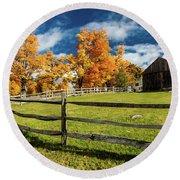 New England Farm With Autumn Sugar Round Beach Towel