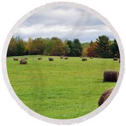 New England Hay Bales Round Beach Towel