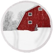 New England Red Barn In Winter Snow Storm Round Beach Towel