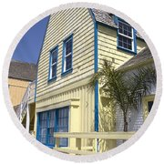 New England Style Building At Fisherman's Village Marina Del Rey Los Angeles Round Beach Towel