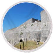 New Fort Corfu 1 Round Beach Towel