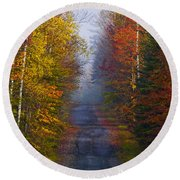New Hampshire Back Road Round Beach Towel