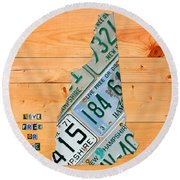 New Hampshire License Plate Map Live Free Or Die Old Man Of The Mountain Round Beach Towel by Design Turnpike