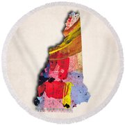 New Hampshire Map Art - Painted Map Of New Hampshire Round Beach Towel