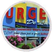 New Jersey Diner Round Beach Towel