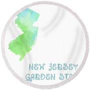 New Jersey - Garden State - Map - State Phrase - Geology Round Beach Towel