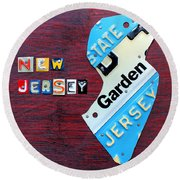 New Jersey License Plate Map Round Beach Towel by Design Turnpike