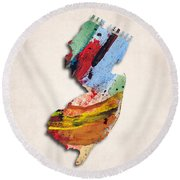 New Jersey Map Art - Painted Map Of New Jersey Round Beach Towel