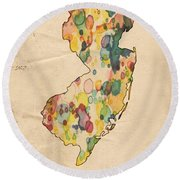 New Jersey Map Vintage Watercolor Round Beach Towel