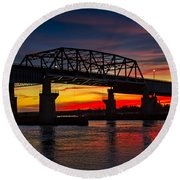 New Jersey Meadowlands Sunset Round Beach Towel