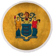 New Jersey State Flag Art On Worn Canvas Round Beach Towel