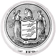 New Jersey State Seal Round Beach Towel